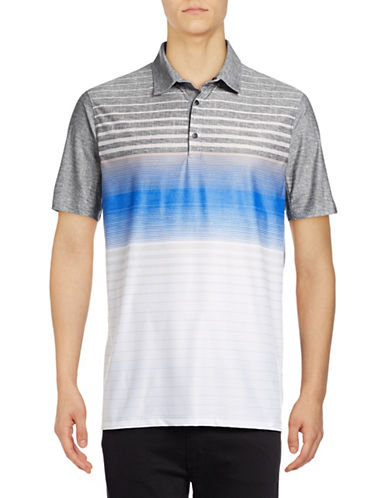Point Zero Stripe Blocked Four-Way Stretch Polo-BLUE-Medium
