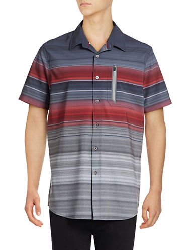 Point Zero Compression Fit Striped Shirt-RED-Medium