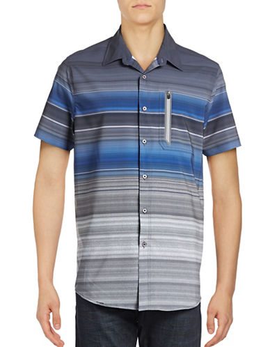 Point Zero Compression Fit Striped Shirt-BLUE-Large