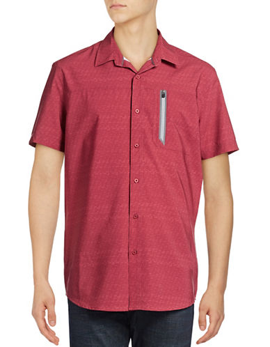 Point Zero Compression Fit Optical-Print Shirt-RED-Medium