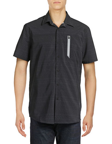 Point Zero Compression Fit Optical-Print Shirt-BLACK-Small