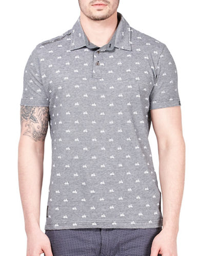 Point Zero Printed Slub Polo-BLACK-X-Large
