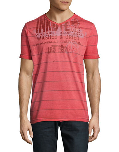 Point Zero Printed Striped V-Neck T-Shirt-RED-Medium 89069636_RED_Medium