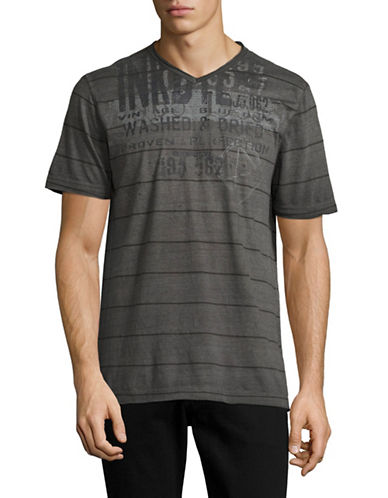 Point Zero Printed Striped V-Neck T-Shirt-BLACK-Small