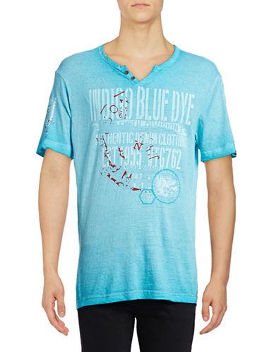 Point Zero Henley Stripe T-Shirt-BLUE-Medium