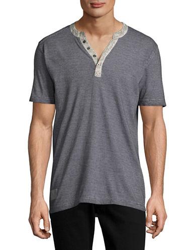 Point Zero Striped Henley T-Shirt-GREY-Medium