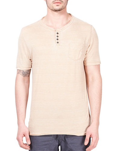 Point Zero Striped Henley T-Shirt-BEIGE-X-Large