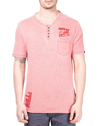 Point Zero Striped Henley T-Shirt-RED-X-Large 89166859_RED_X-Large