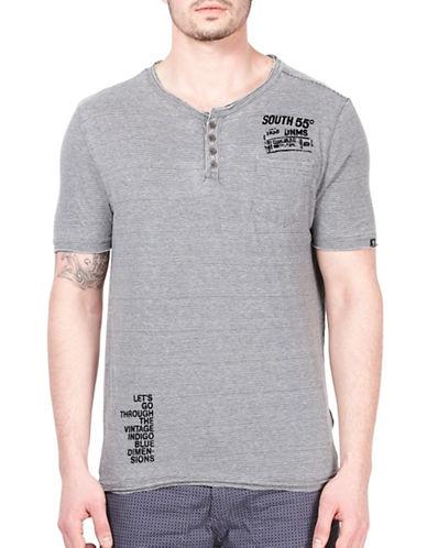 Point Zero Striped Henley T-Shirt-BLACK-Large