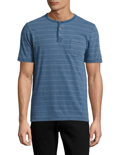 Point Zero Striped Henley T-Shirt-BLUE-Small