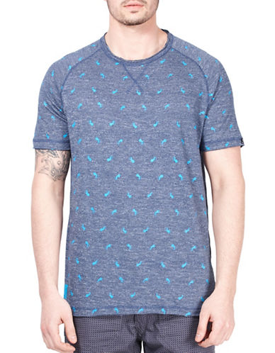 Point Zero Printed T-Shirt-BLUE-X-Large