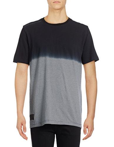 Point Zero Striped Dip Dye T-Shirt-BLACK-Small