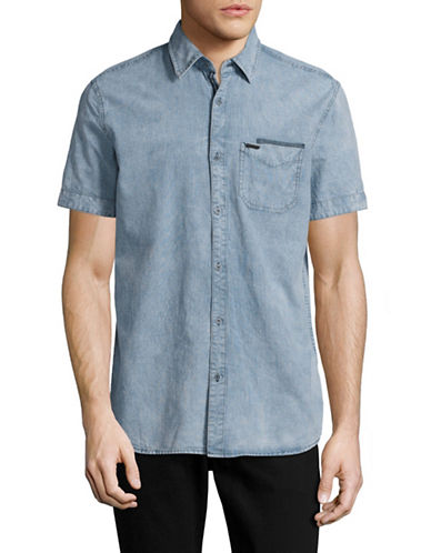 Point Zero Chambray Sport Shirt-BLUE-Large