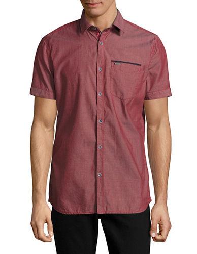 Point Zero Minimal Print Chambray Shirt-RED-X-Large
