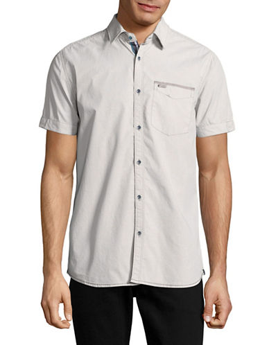 Point Zero Minimal Print Chambray Shirt-SILVER-Small