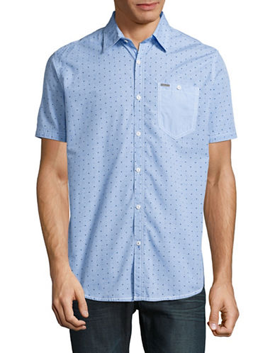 Point Zero Semi Fit Dotted Sport Shirt-BLUE-Small