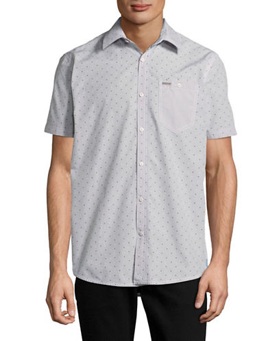 Point Zero Semi Fit Dotted Sport Shirt-SILVER-Large