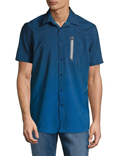 Point Zero Stretch Geometric Sport Shirt-BLUE-Small