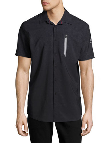 Point Zero Stretch Geometric Sport Shirt-BLACK-Medium
