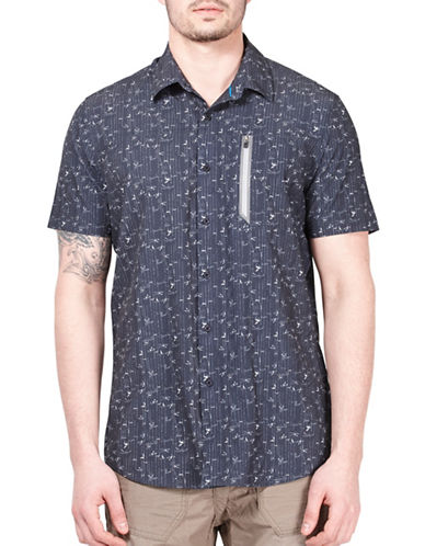 Point Zero 4-Way Stretch Floral Stripe Shirt-NAVY-Large