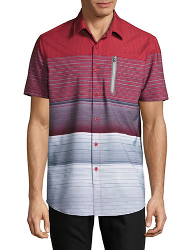 Point Zero Striped 4-Way Stretch Shirt-RED-Medium