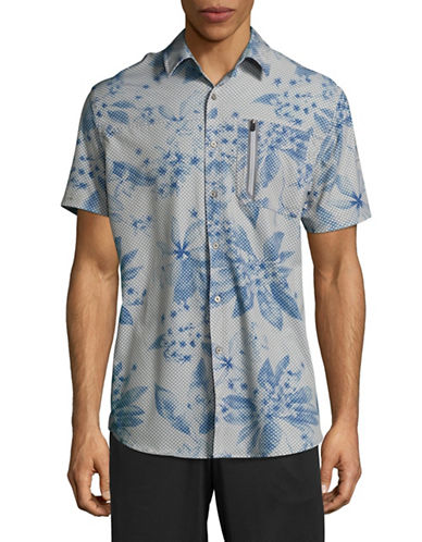 Point Zero Compression-Fit Printed Short Sleeve Shirt-BEIGE-Medium