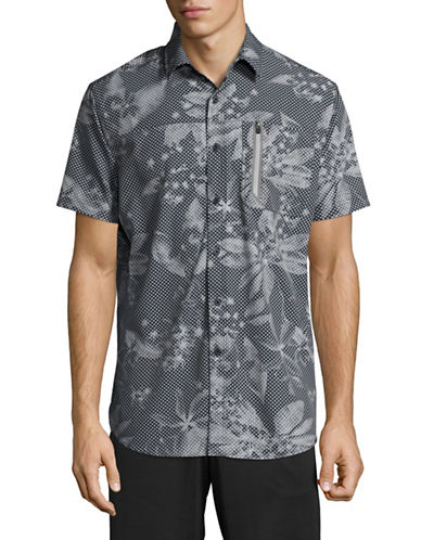 Point Zero Compression-Fit Printed Short Sleeve Shirt-GREY-Large