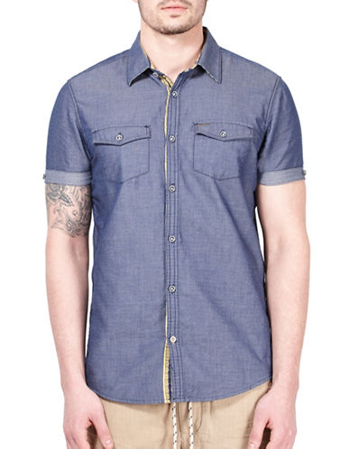 Point Zero Cotton Dobby Short-Sleeve Shirt-BLUE-Small