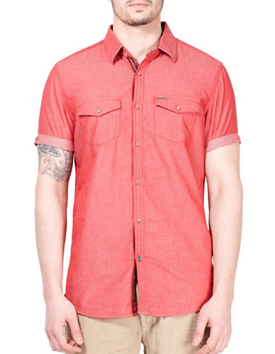 Point Zero Cotton Dobby Short-Sleeve Shirt-RED-Medium