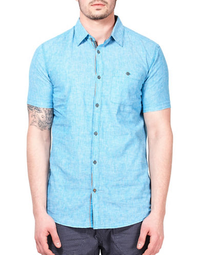 Point Zero Striped Short-Sleeve Shirt-SEA BLUE-Small
