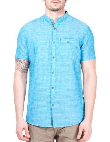 Point Zero Striped Linen-Blend Shirt-BLUE-X-Large