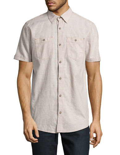 Point Zero Linen Blend Sport Shirt-YELLOW-Large