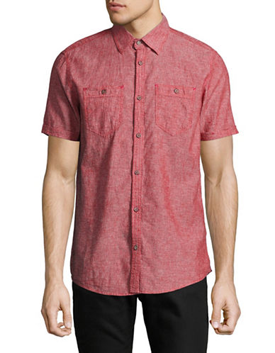 Point Zero Linen Blend Sport Shirt-RED-Small