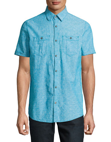 Point Zero Linen Blend Sport Shirt-BLUE-Medium