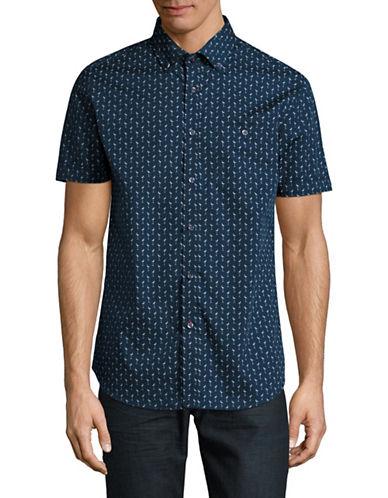 Point Zero Easy Iron Flamingo Print Shirt-BLUE-Medium