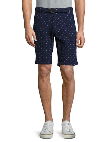 Point Zero Slant-Pocket Shorts with Belt-BLUE-38