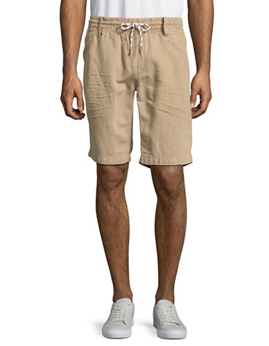 Point Zero Cotton-Linen Drawstring Shorts-BEIGE-34