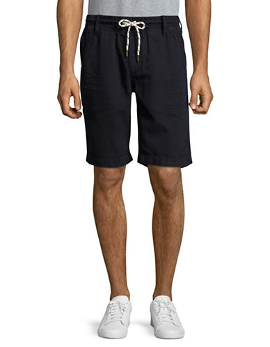 Point Zero Cotton-Linen Drawstring Shorts-NAVY-30