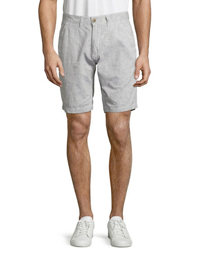 Point Zero Striped Cotton-Linen Shorts-WHITE-36
