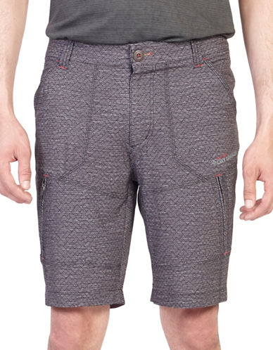 Point Zero Printed Stretch Microfibre Shorts-BLACK-30