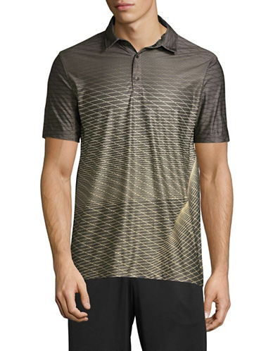Point Zero Print Blocked Four-Way Stretch Polo-YELLOW-Large