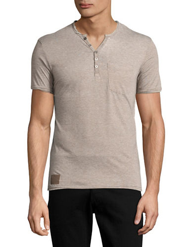 Point Zero Burnout Stripe V-Neck Henley T-Shirt-GREY-Small