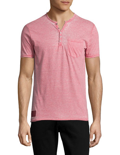 Point Zero Burnout Stripe V-Neck Henley T-Shirt-RED-Medium 89106563_RED_Medium