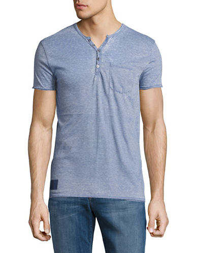 Point Zero Burnout Stripe V-Neck Henley T-Shirt-BLUE-Large