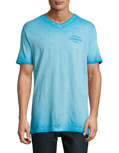 Point Zero Reverse-Dye Striped V-Neck T-Shirt-BLUE-Large