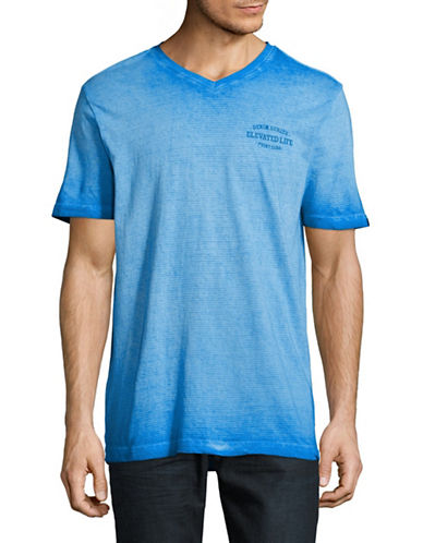 Point Zero Reverse-Dye Striped V-Neck T-Shirt-ROYAL BLUE-X-Large