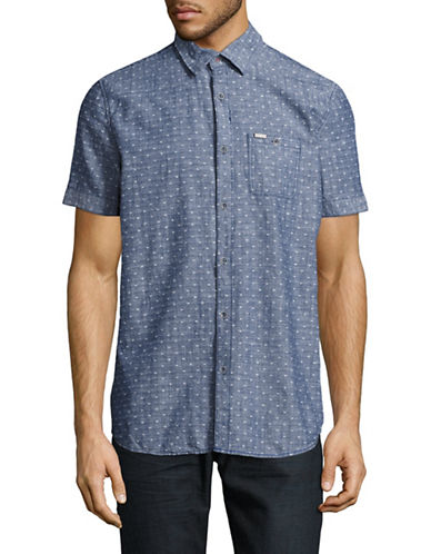 Point Zero Short Sleeve Slub Chambray Shirt-BLUE-Large