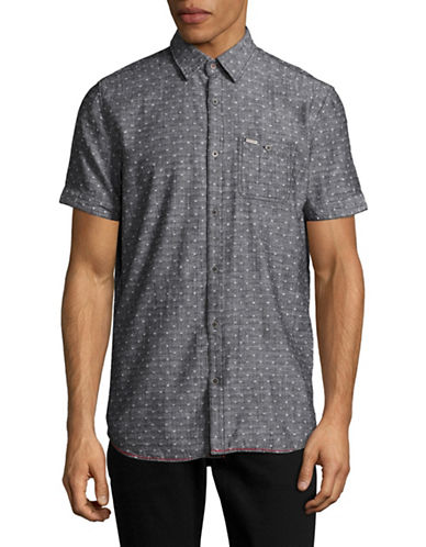 Point Zero Short Sleeve Slub Chambray Shirt-BLACK-Large