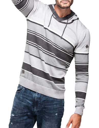 Point Zero Stripe-Stitch V-Neck Hoodie-WHITE-X-Large 88779660_WHITE_X-Large