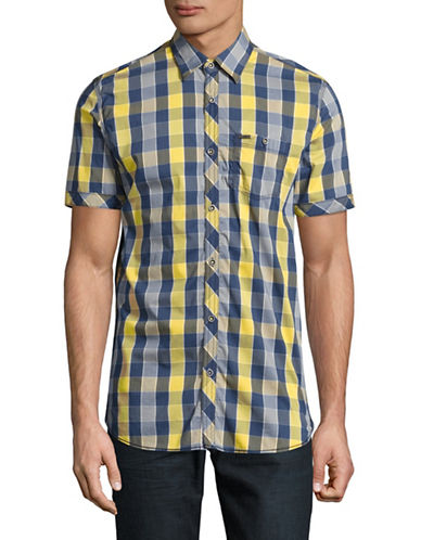 Point Zero Buffalo Check Sport Shirt-YELLOW-Large